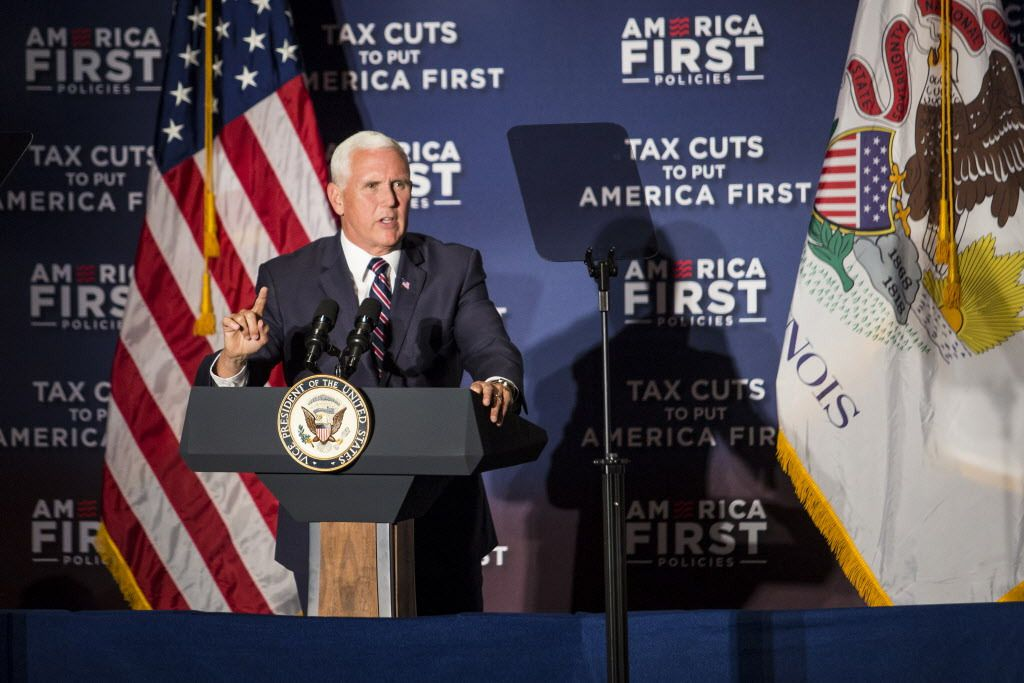 Vice President Mike Pence touts the Tax Cuts and Jobs Act during an America First Policies event at the Westin O'Hare in Rosemont, on Friday afternoon. | Ashlee Rezin/Sun-Times