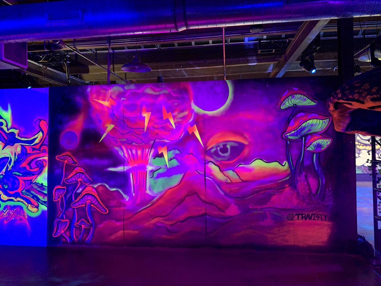 Artist Travis Talsma used UV-reactive spray paint and layered neon coloring for his piece in the Artiopia exhibition. His work usually can be found on the sides of buildings and CTA viaducts.