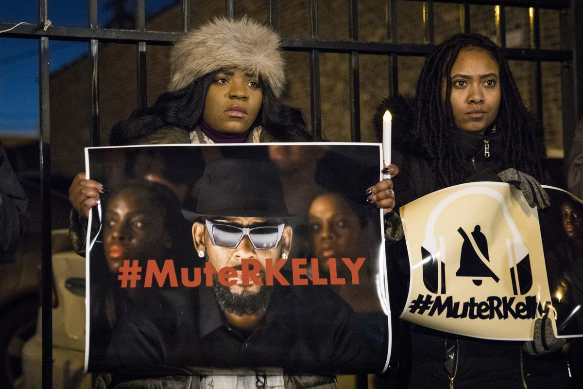 #MuteRKelly supporters protest outside R. Kelly's studio, Wednesday, Jan. 9, 2019, in Chicago.