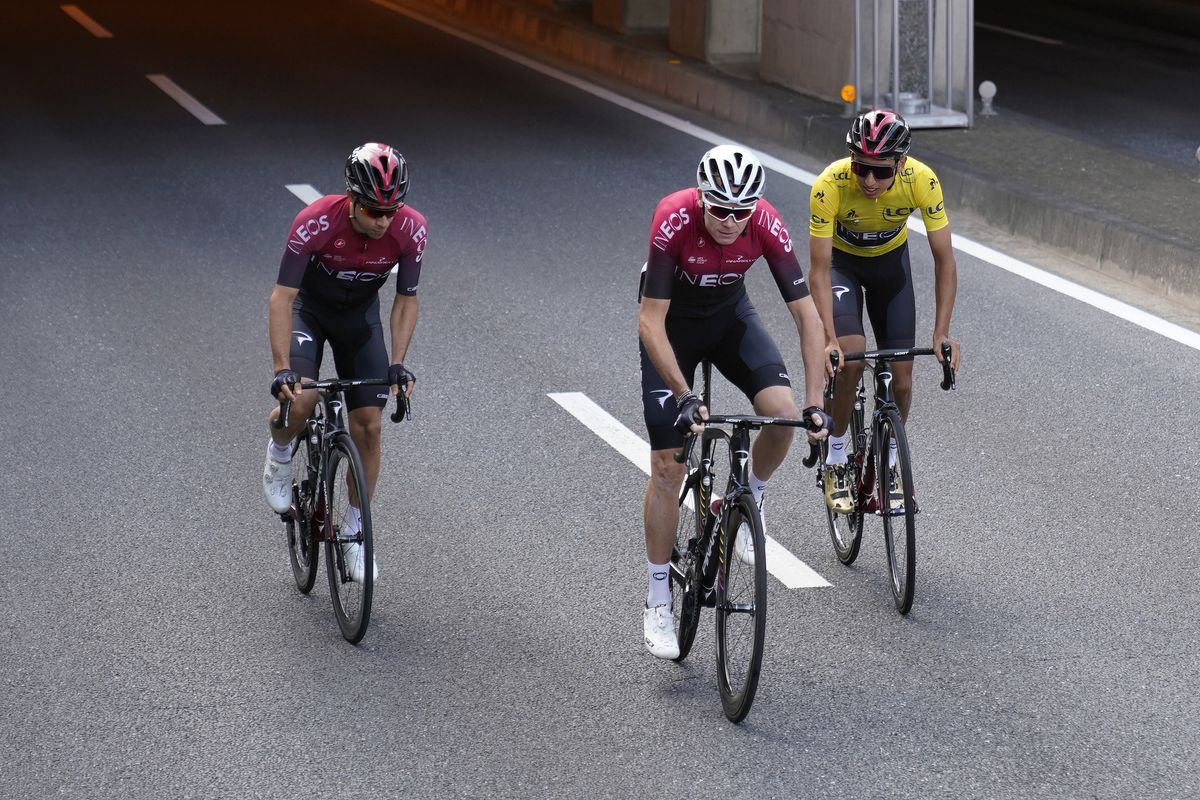 Jonathan Castroviejo of Spain and Team INEOS, Egan Bernal of Colombia and Team INEOS, and Yellow Leader Jersey Chris Froome of United Kingdom and Team INEOS ride together during the 7th Tour de France Saitama Criterium in Saitama, Japan.