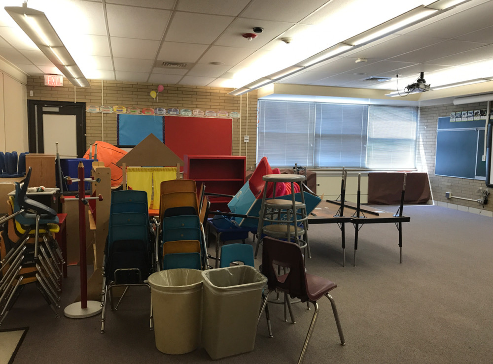 Aurora kindergarten teacher Laura Henry's classroom after it has been cleaned during the summer. With the exception of the red shelf, a few alternative seating items, and the pencil coat rack, these items are school purchased.