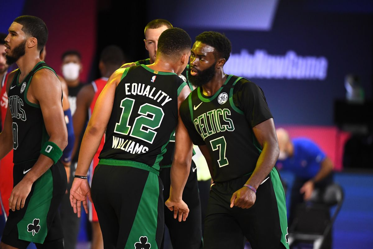 Jaylen Brown of the Boston Celtics reacts to a play during the game against the Philadelphia 76ers during Round One, Game One of the NBA Playoffs on August 17, 2020 at The Field House in Orlando, Florida.