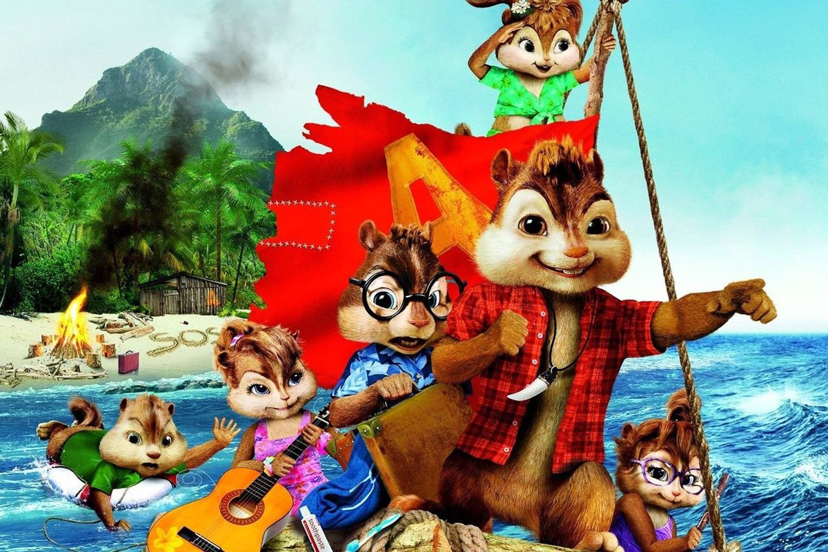 Alvin and the other chipmunks escape an island on a raft in Alvin and the Chipmunks: Chipwrecked.