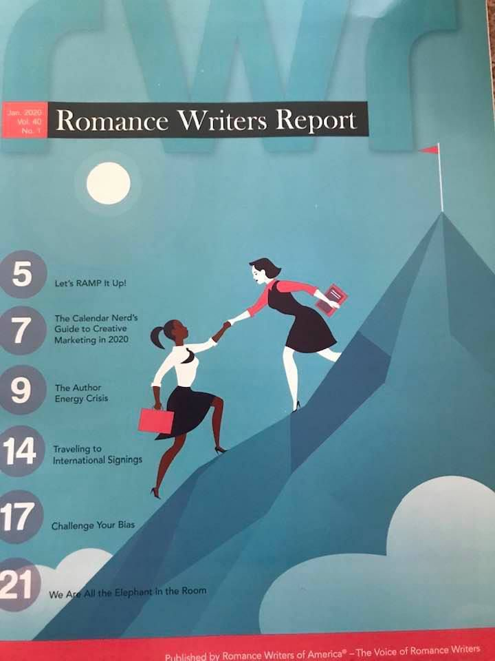 A magazine cover with a teal background showing a mountain with a flag at the top. Almost to the peak, a white woman reaches behind her to help a black woman who is slightly below her. The black woman has her arm outstretched for help. Both women are holding books.