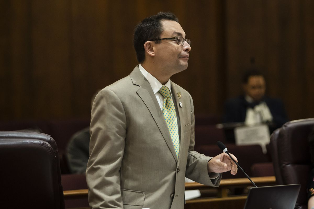 Ald. Raymond Lopez (15th) speaks during a Chicago City Council meeting at City Hall, Wednesday morning, June 23, 2021.