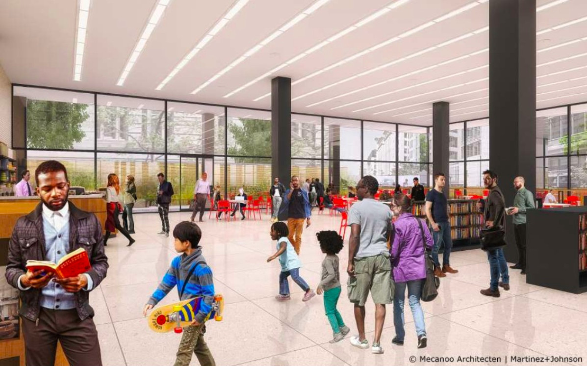 A rendering of the library interior and cafe, showing dozens of people of various races, including children. The cafe is in the background.