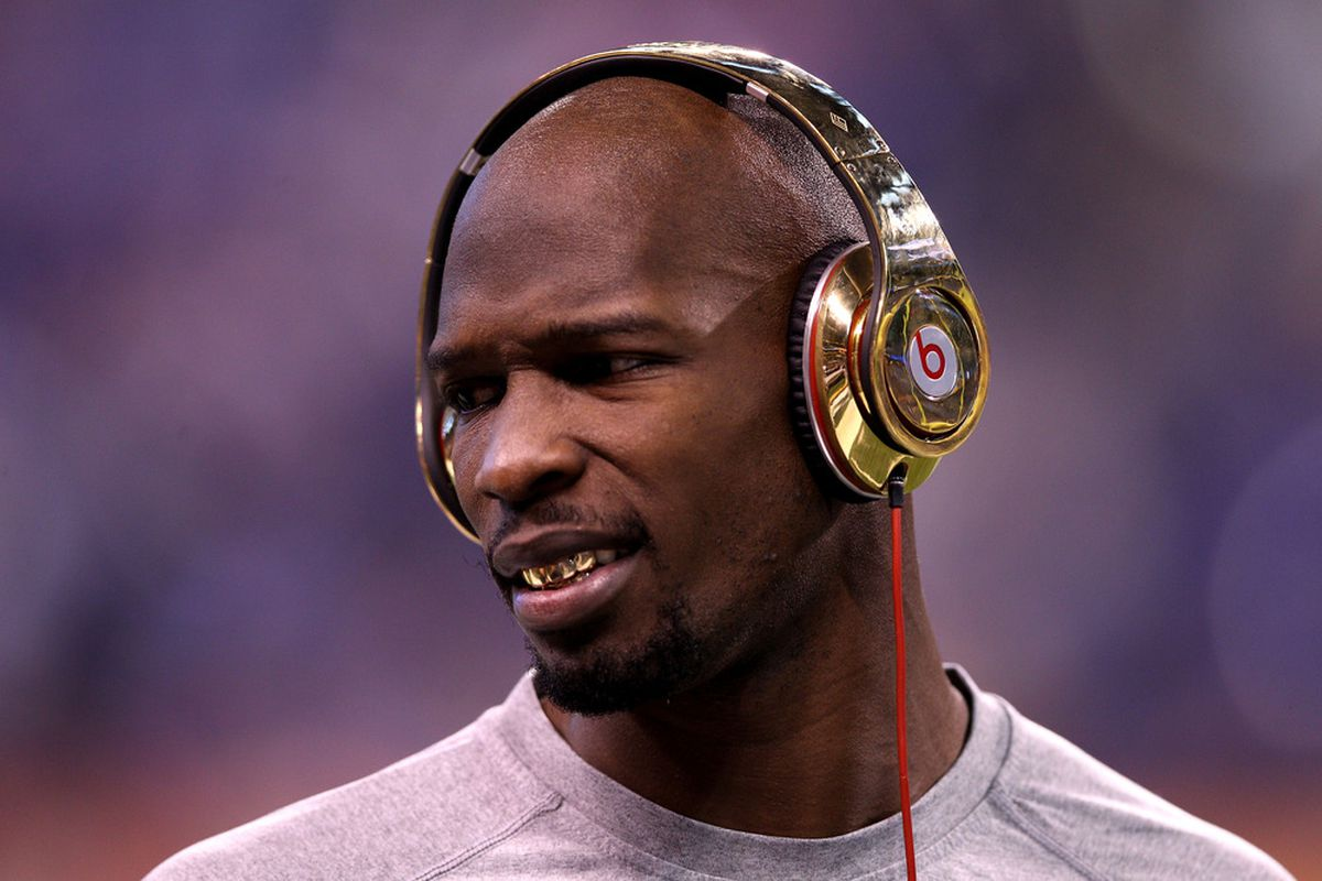 INDIANAPOLIS, IN - FEBRUARY 05:  Chad JOHNSON #85 of the New England Patriots is finally making good on his word.  (Photo by Elsa/Getty Images)