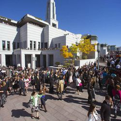 Thousands pour out of the Conference Center following the morning session of the 183rd Semiannual General Conference for The Church of Jesus Christ of Latter-day Saints Sunday, Oct. 6, 2013.