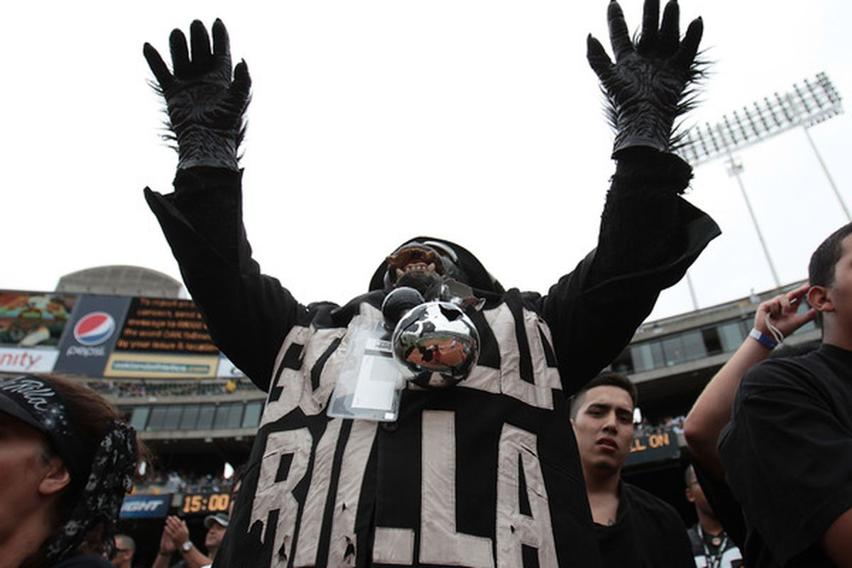 OAKLAND CA - SEPTEMBER 19:   A fan of the Oakland Raiders cheers against the St. Louis Rams during an NFL game at Oakland-Alameda County Coliseum on September 19 2010 in Oakland California.  (Photo by Jed Jacobsohn/Getty Images)
