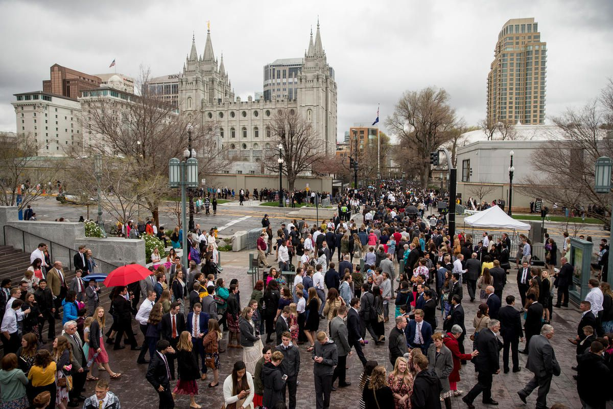 People leave after the Sunday afternoon session of the LDS Church's 187th Annual General Conference at the Conference Center in Salt Lake City on Sunday, April 02, 2017.