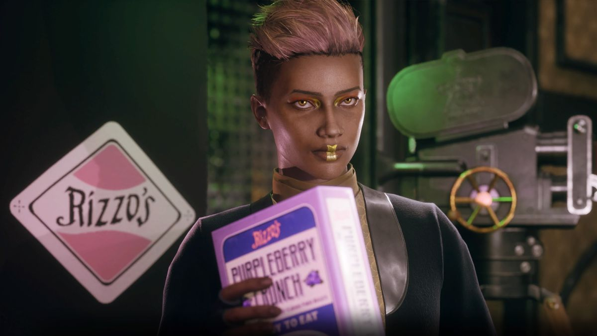 A character shows Rizzo's Purpleberry Munch — the only snack in Halcyon officially endorsed by the Captain of the Unreliable