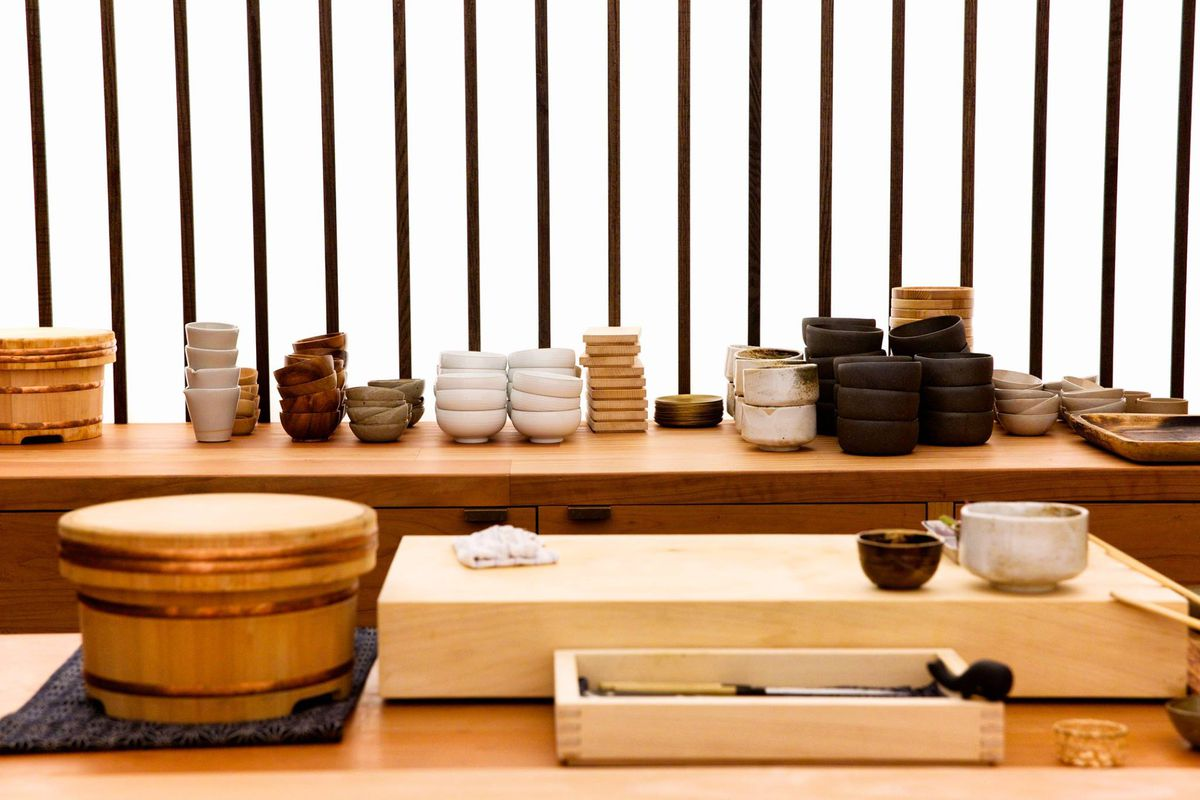 Otoko's bright white background with wooden cutting boards