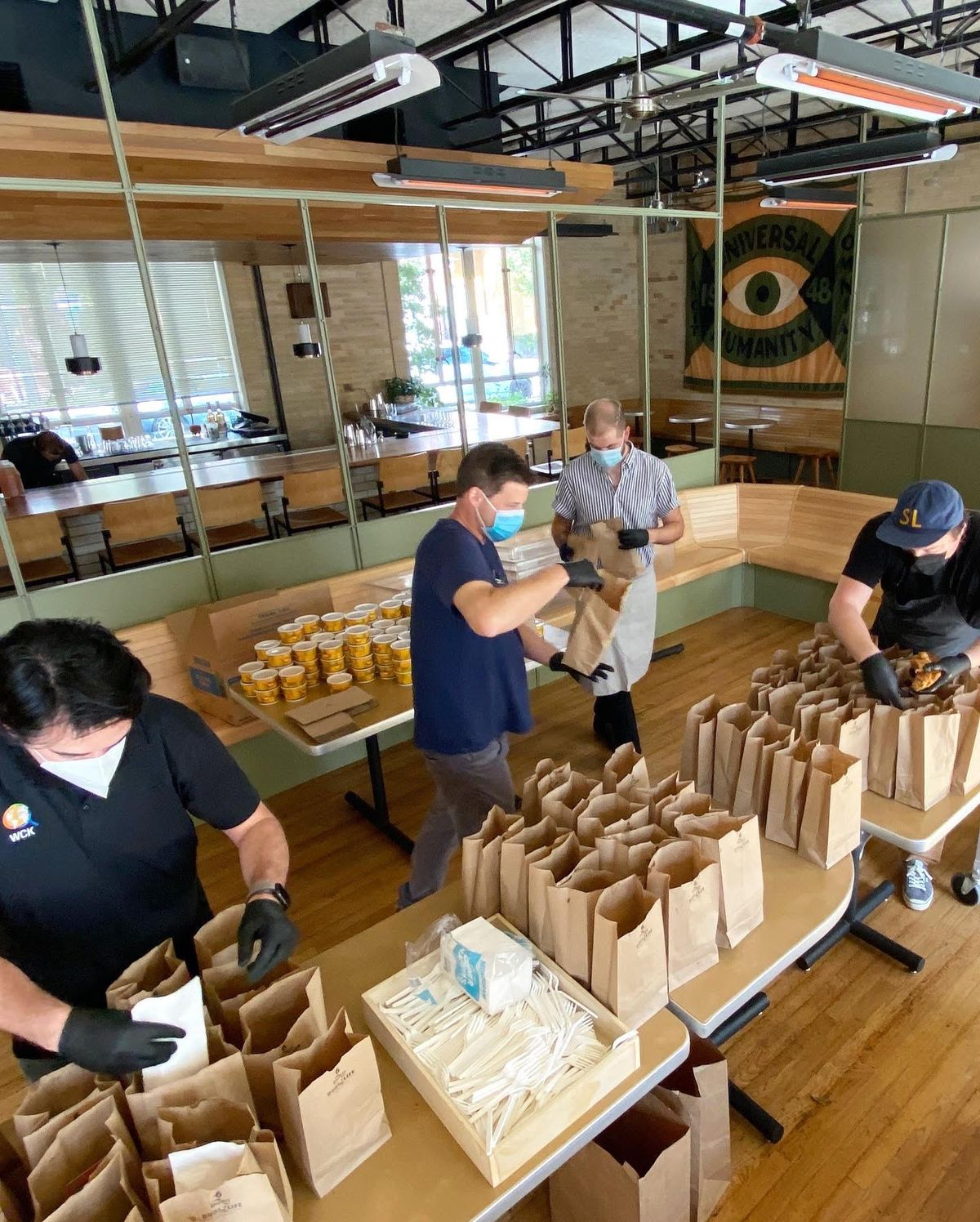 The Carpenter Hotel team prepping meals for poll workers