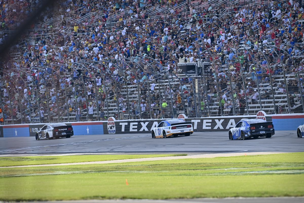 A view of the front stretch during the NASCAR All-Star Open at Texas Motor Speedway.