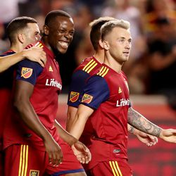 Real Salt Lake midfielder Albert Rusnak (11) and teammates celebrate after a Rusnak goal as they and the Seattle Sounders play at Rio Tinto Stadium in Sandy, Utah, on Wednesday, Aug. 14, 2019. RSL won 3-0.