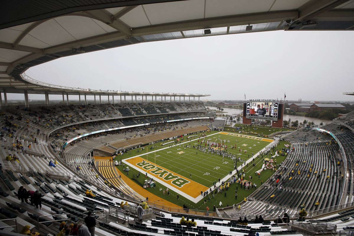 A nearly empty McLane Stadium is seen minutes before kickoff between Iowa State and Baylor in on Saturday, Oct. 24, 2015, in Waco, Texas.