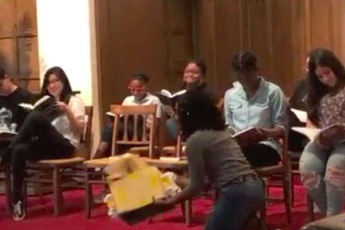 Students in the 482Forward youth organizing collective perform a play about recent events in Detroit schools.