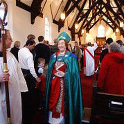 Episcopal Bishop Carolyn Tanner Irish leaves St. Paul's Episcopal Church after services this past Sunday. She is the first woman to ever head a church in Utah.