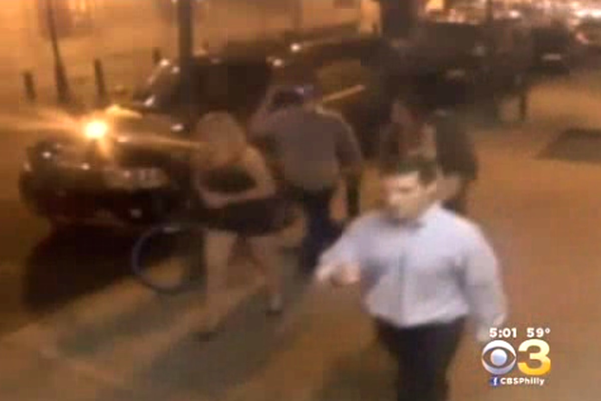 Video surveillance shows part of the group that allegedly beat two gay men.