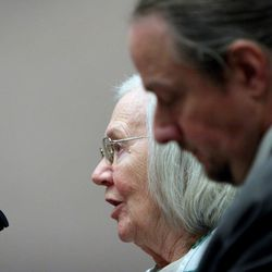 Evelyn Christine Johnson, 75, speaks Thursday, Feb. 9, 2012, before being sentenced to serve one to 15 years in prison for fatally shooting her husband, Alan Lavoy Johnson, in August 2004. She was initially charged with murder, a first-degree felony, but pleaded guilty in December 2011 to manslaughter, a second-degree felony.
