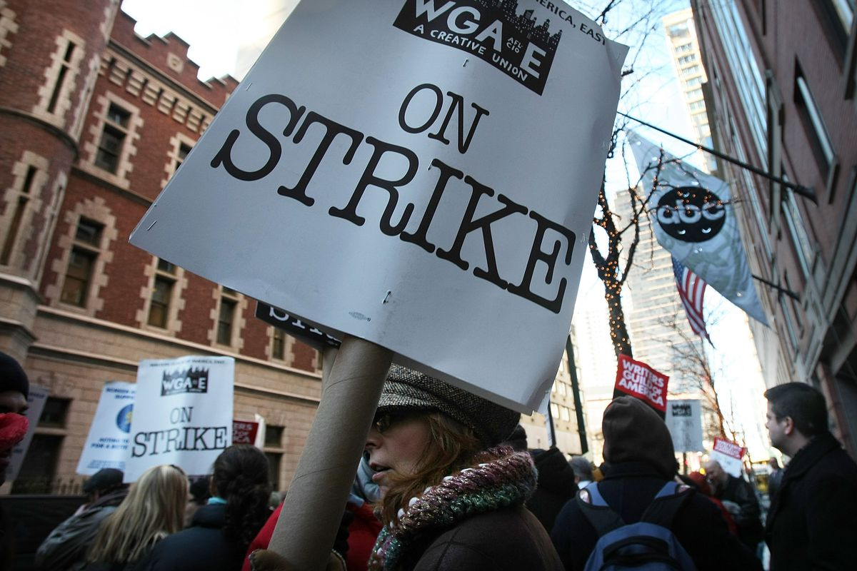 Writers Guild Holds Picket And Rally Outside ABC Studios In New York