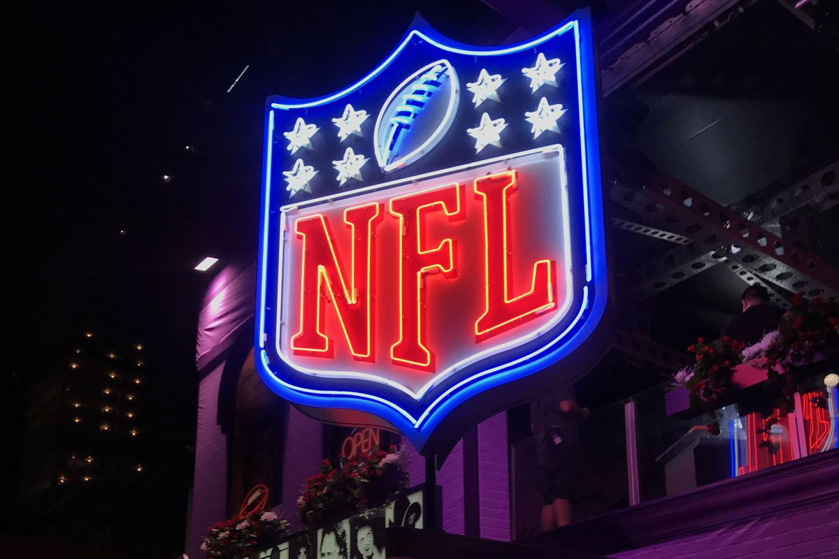A neon NFL shield logo at the Tootsies Orchid Lounce in Nashville prior to the 2019 NFL Draft, Apr. 24, 2019.