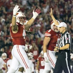 Wisconsin defenders pump up the crowd.