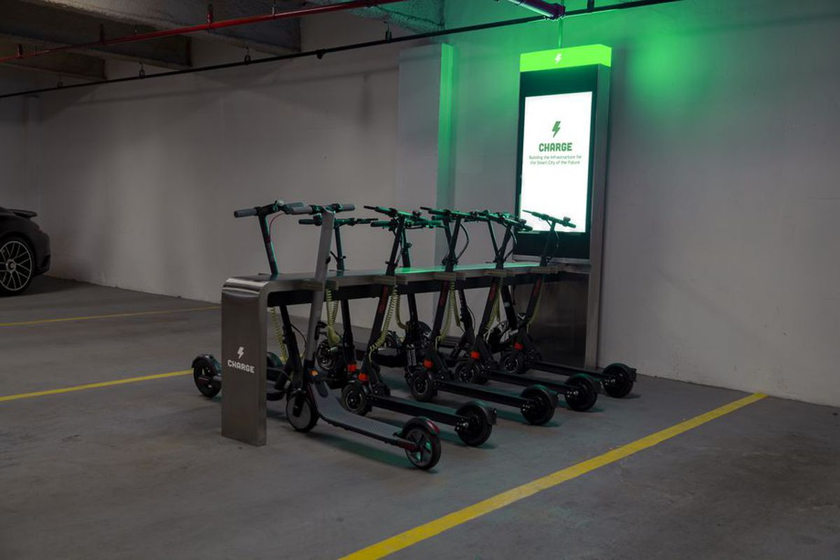 A photo of an e-scooter docking station planned for downtown Atlanta.