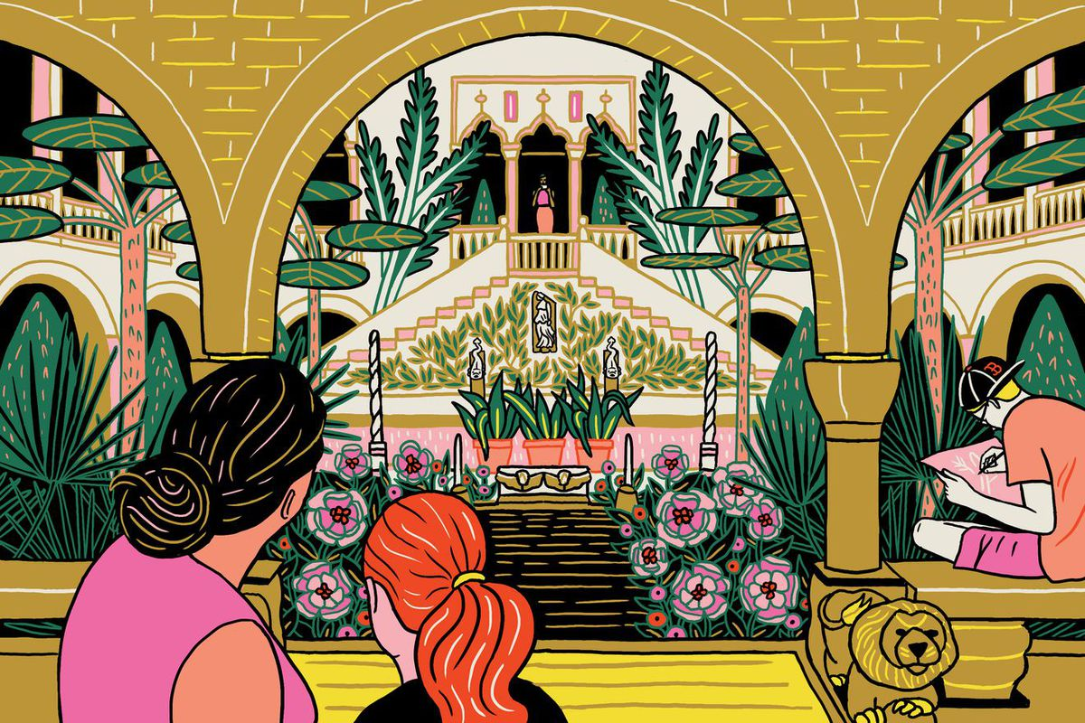 An illustration of a woman and a girl looking at a lush indoor garden.