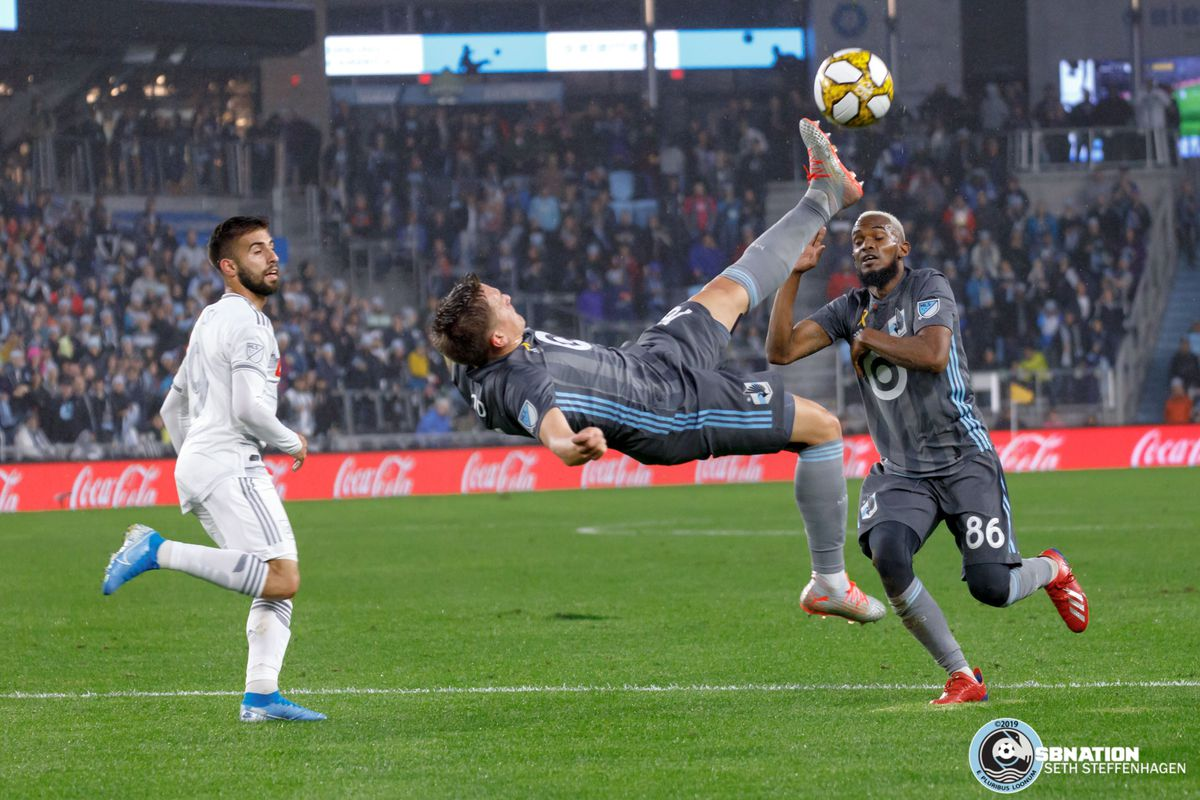September 29, 2019 - Saint Paul, Minnesota, United States - Minnesota United midfielder Robin Lod (16) attempts a bicycle kick during a match against LAFC at Allianz Field.
