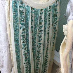 Aspen skirt in ivory and teal, $30