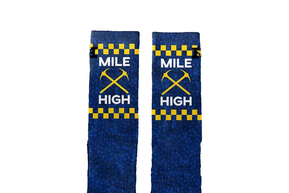 "95230088fd4 NEW  Denver Nuggets themed ""Mile High"" socks"