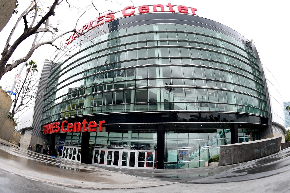 Usually packed with fans, the entrance area is empty due to a closed Staples Center.