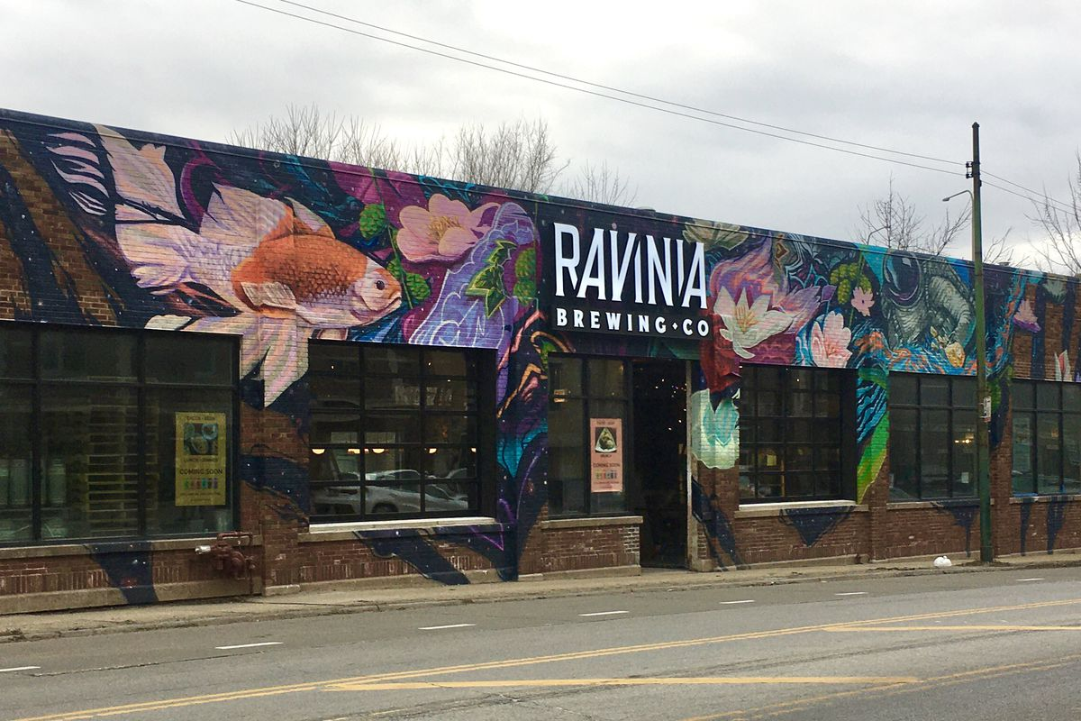 A colorful brewery mural.