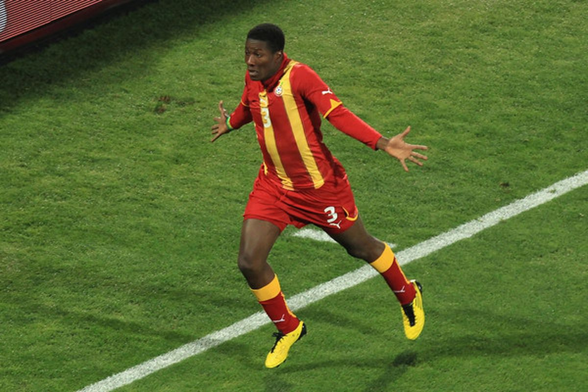 If Asamoah Gyan makes this face on Saturday, we're probably kind of screwed. (Photo by Martin Rose/Getty Images)