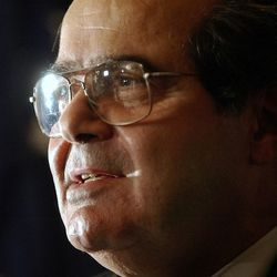 FILE - In this Saturday, Oct. 8, 2005 file photo, U.S. Supreme Court Justice Antonin Scalia speaks during a news conference in New York. On Saturday, Feb. 13, 2016, the U.S. Marshals Service confirmed that Scalia has died at the age of 79.