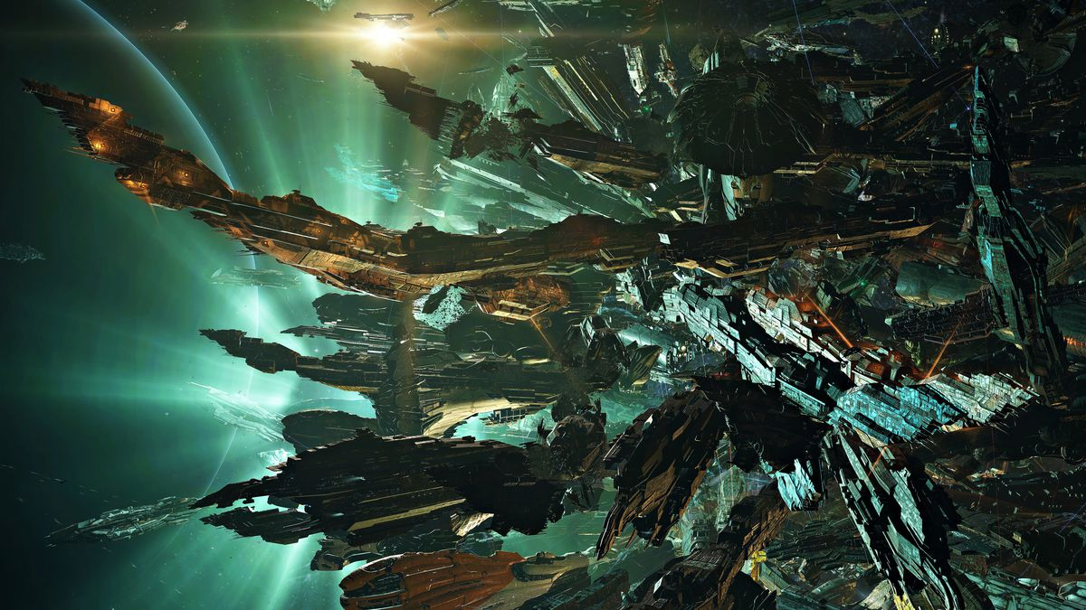 A tangle of warships backlit by the curve of a planet, explosions, and more.