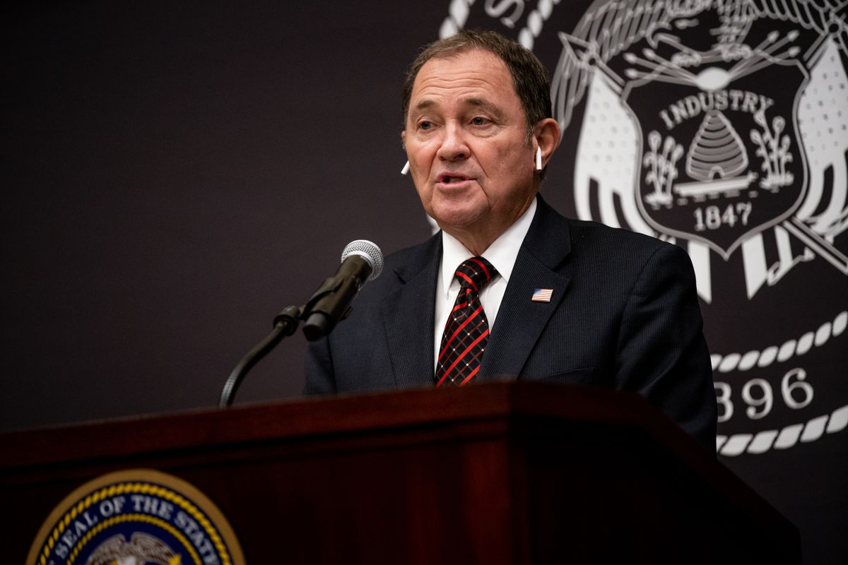 Gov. Gary Herbert speaks during his monthly news conference at the Capitol in Salt Lake City on Thursday, Nov. 19, 2020.