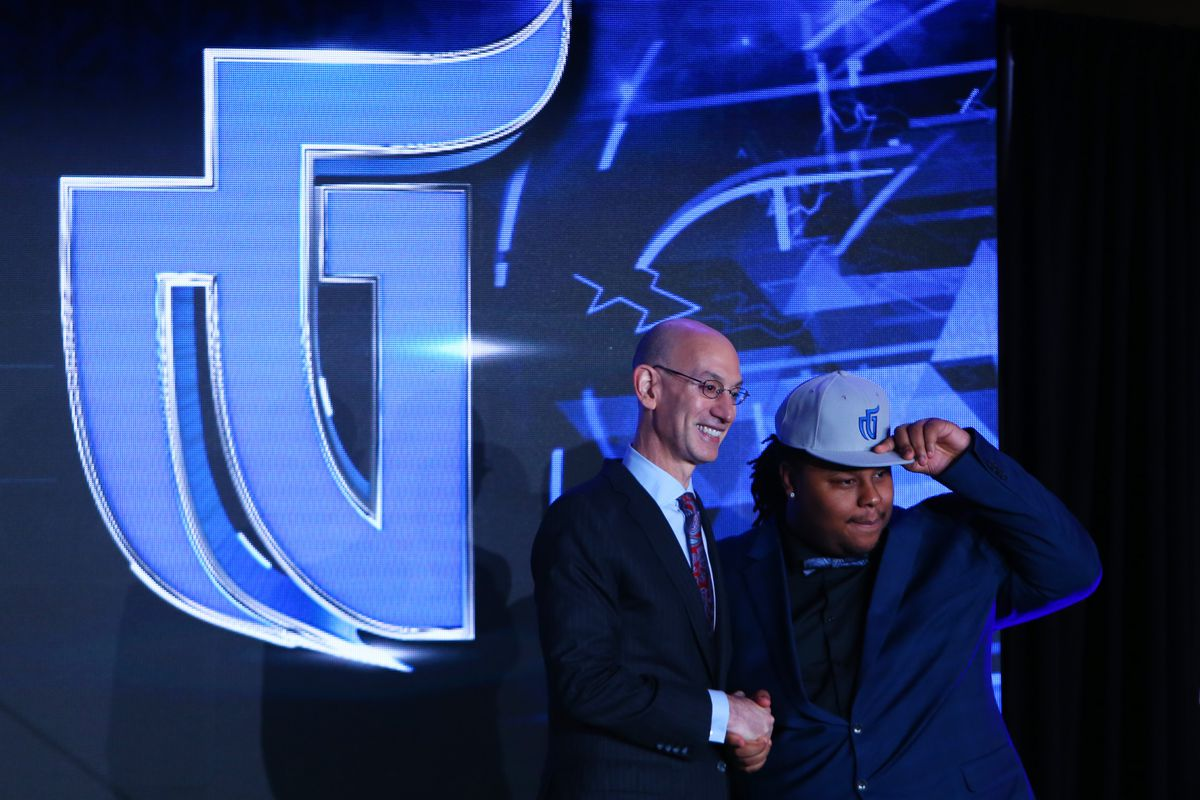 NBA 2K League Draft - NBA Commissioner Adam Silver poses with Artreyo 'Dimez' Boyd, chosen No. 1 overall by Mavs Gaming