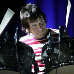 The Who's drummer Zak Starkey, the son of the Beatles drummer Ringo Starr, performs at the Wachovia Center in Philadelphia, Tuesday, Sept. 12, 2006. The Who kicked off their first major concert tour in more then 20 years Tuesday. (AP Photo/Matt Rourke)