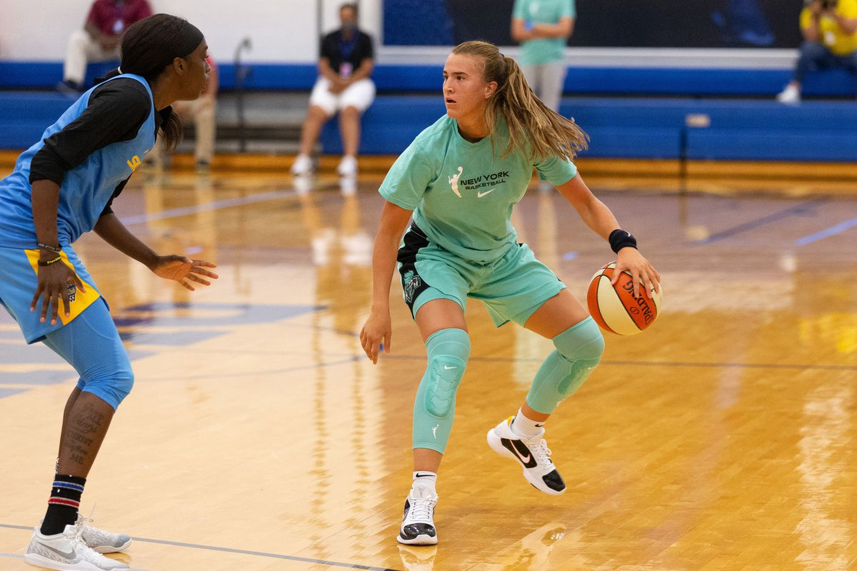 Sabrina Ionescu of the New York Liberty dribbles the ball during a scrimmage against the Chicago Sky on July 22, 2020 at IMG Academy in Bradenton, Florida.