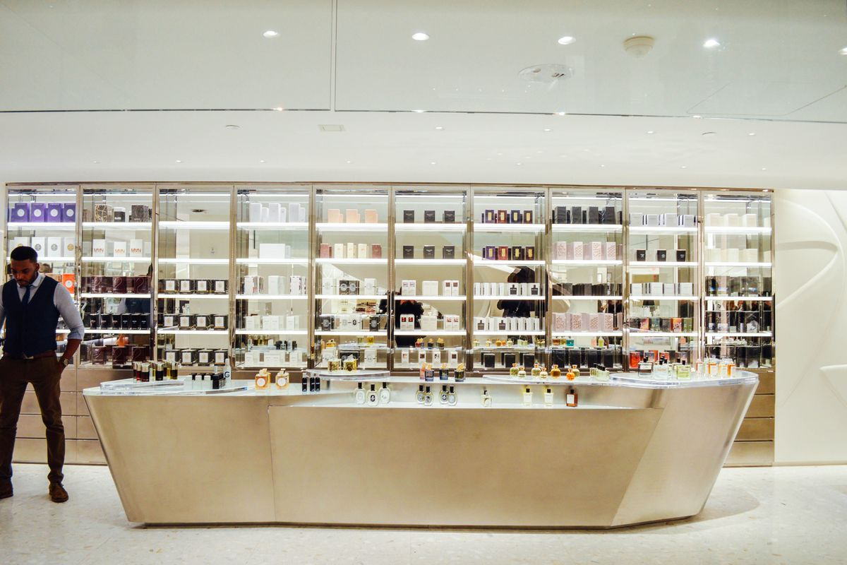 Shelves of fancy perfume and cologne at Barneys' Chelsea location