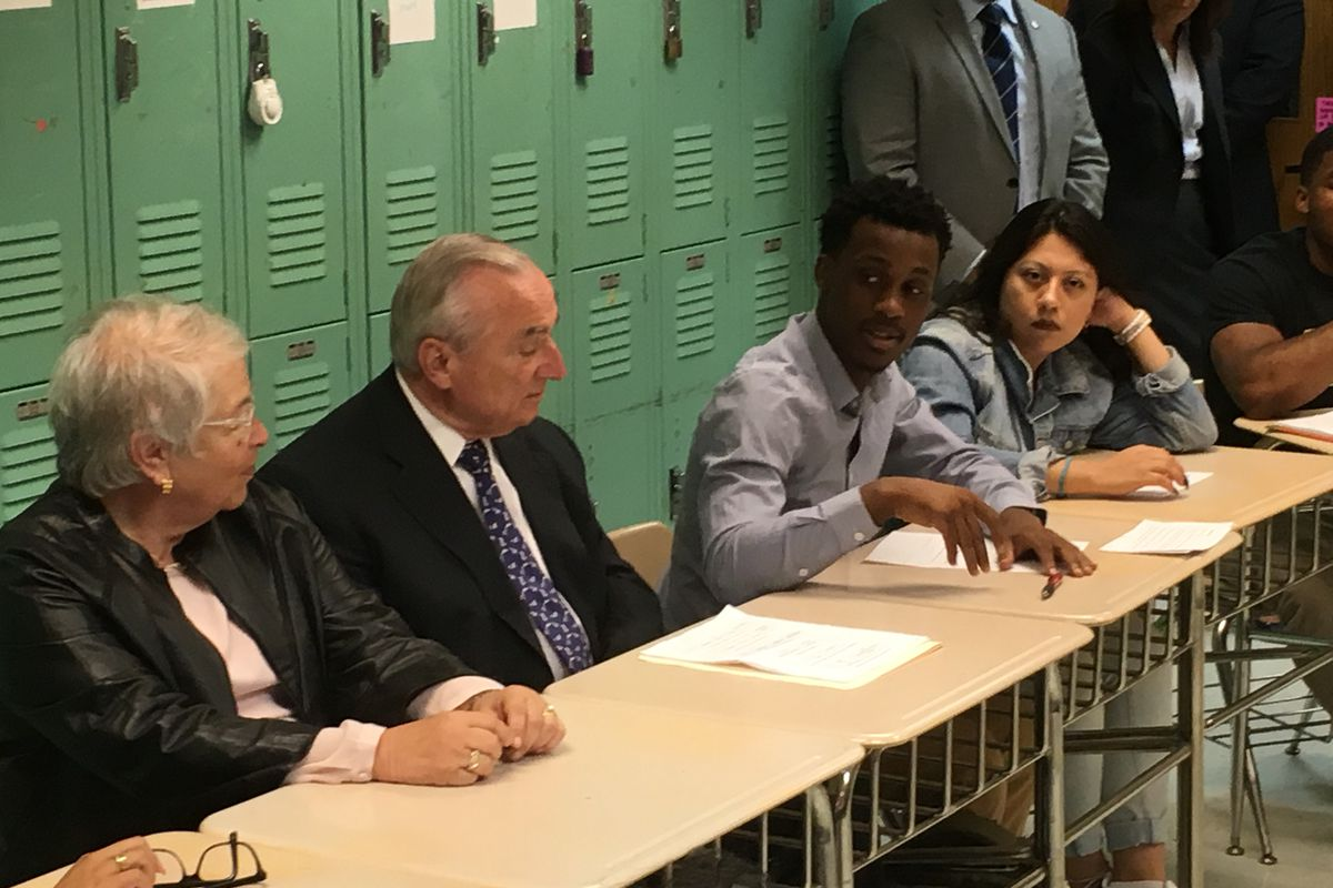 Chancellor Carmen Fariña and NYPD Commissioner William Bratton listen to students talk about restorative justice Thursday at Manhattan's Leadership and Public Service High School