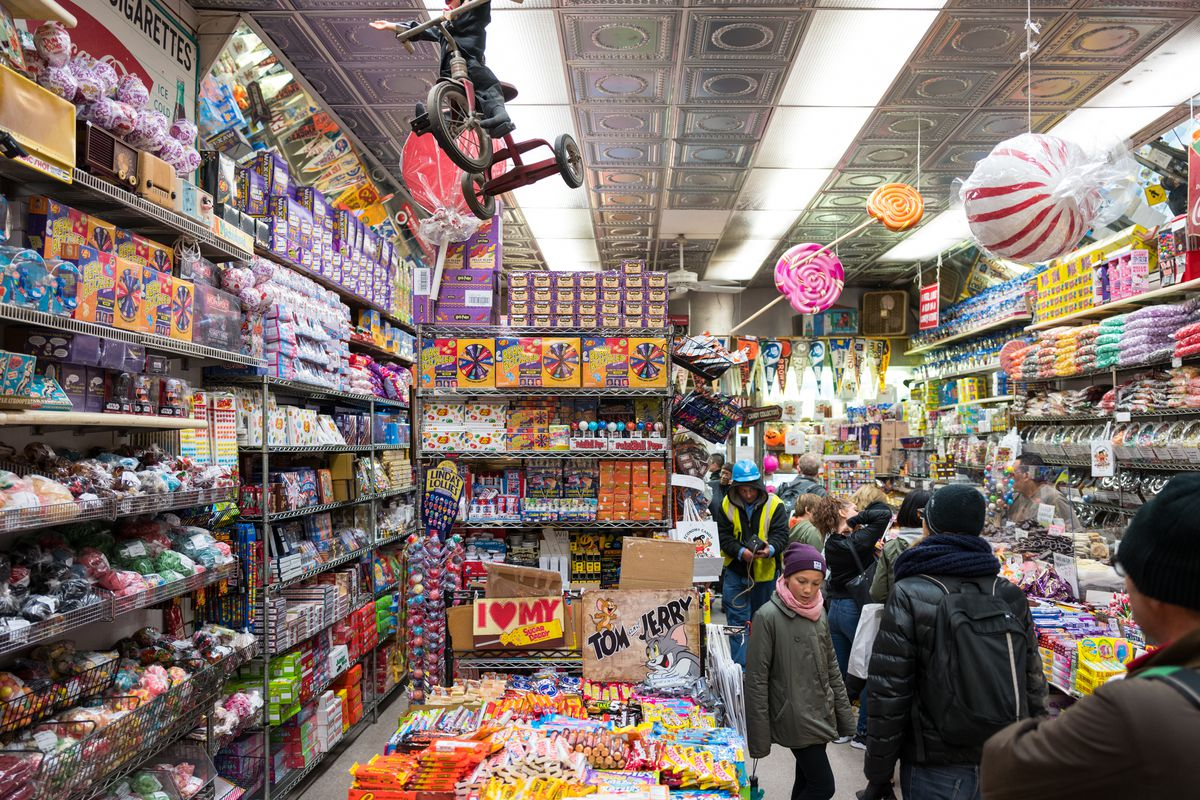 Shelves packed with candy inside store Economy Candy