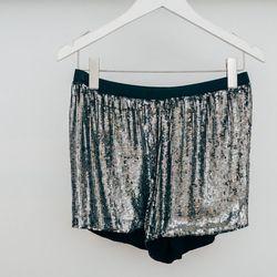 "Gat Rimon 'Adriel' silver sequin shorts, <a href=""http://www.shopcondor.com/gat-rimon-adriel-silver-sequin-shorts.html"">$270</a>"