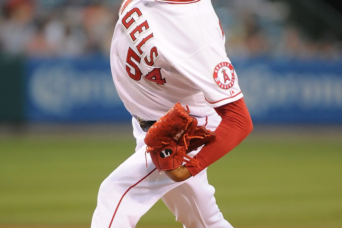 ANAHEIM, CA - AUGUST 15:  Ervin Santana #54 of the Los Angeles Angels of Anaheim pitches against the Cleveland Indians at Angel Stadium of Anaheim on August 15, 2012 in Anaheim, California.  (Photo by Lisa Blumenfeld/Getty Images)