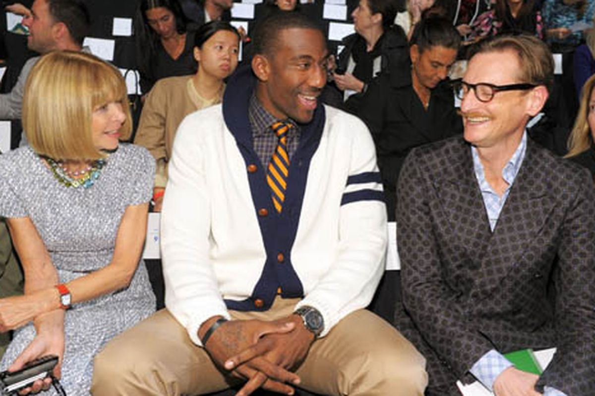 """Stoudemire and friends at Tommy Hilfiger's runway show. Image via <a href=""""http://blogs.glam.com/glamchic/2010/09/13/anna-wintours-new-favorite-man-amare-stoudemire/"""">GlamChic</a>"""
