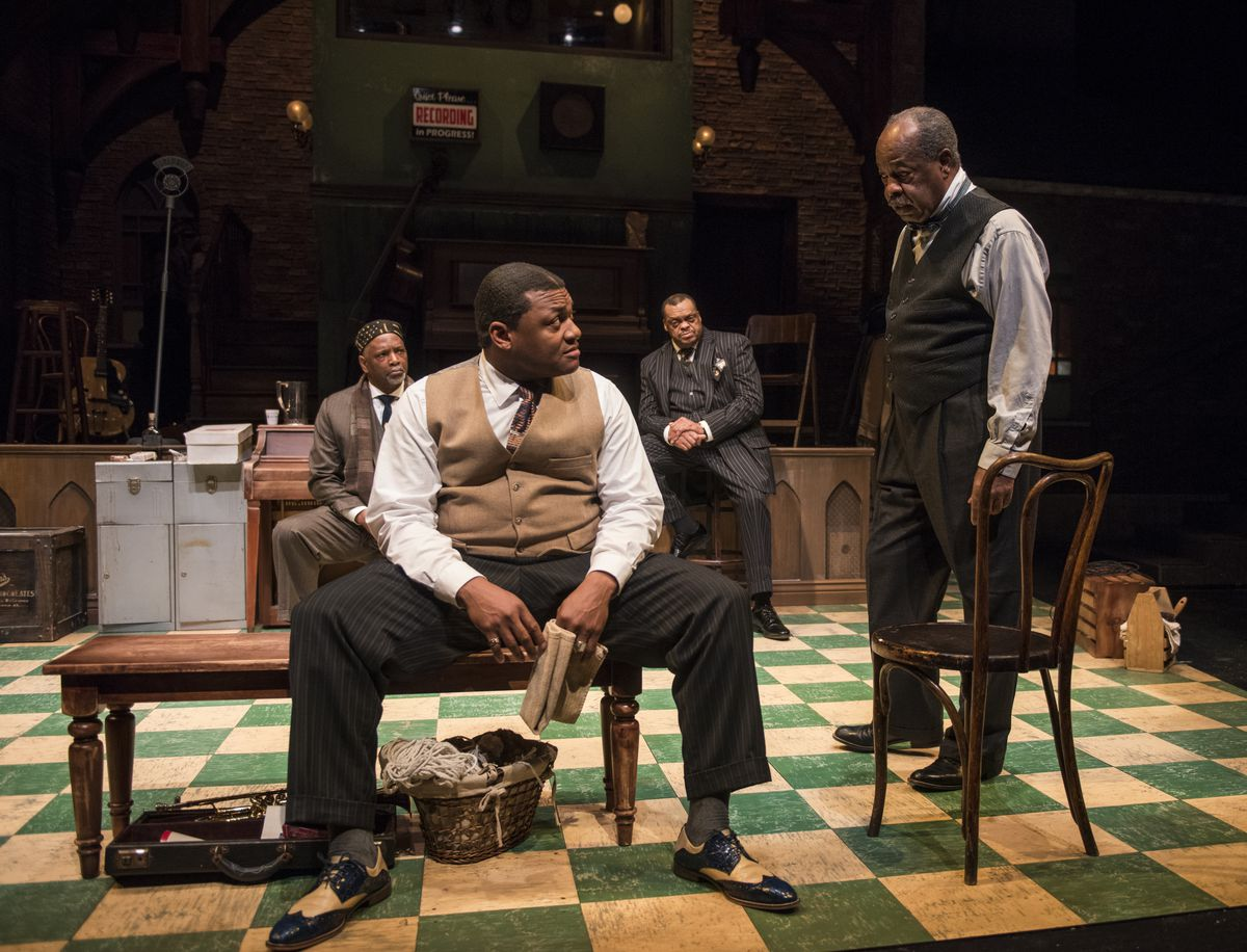 """David Alan Anderson (from left), Kelvin Roston Jr., A.C. Smith and Alfred H. Wilson in a scene from """"Ma Rainey's Black Bottom"""" at Writers Theater. 