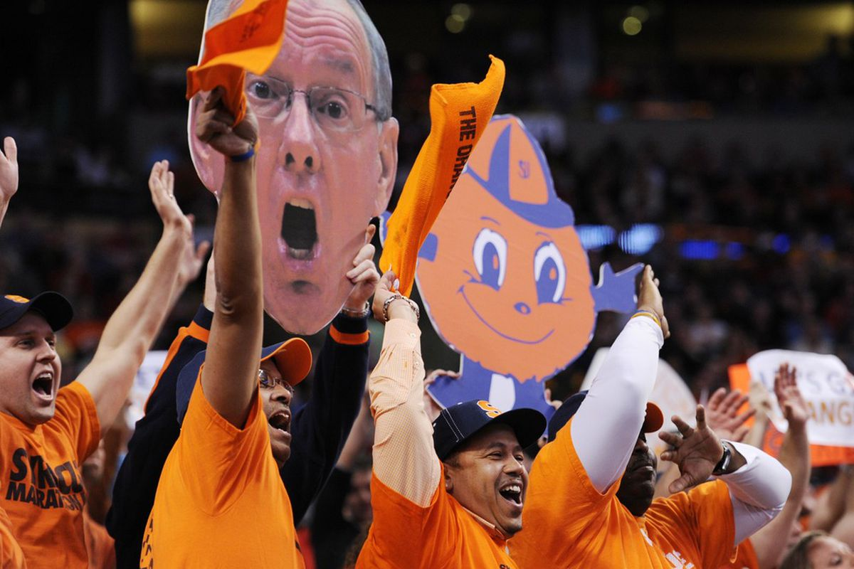Mar 24, 2012; Boston, MA, USA; Syracuse Orange fans cheer in the first half of the finals in the east region of the 2012 NCAA men's basketball tournament against the Ohio State Buckeyes at TD Garden.  Mandatory Credit: Michael Ivins-US PRESSWIRE