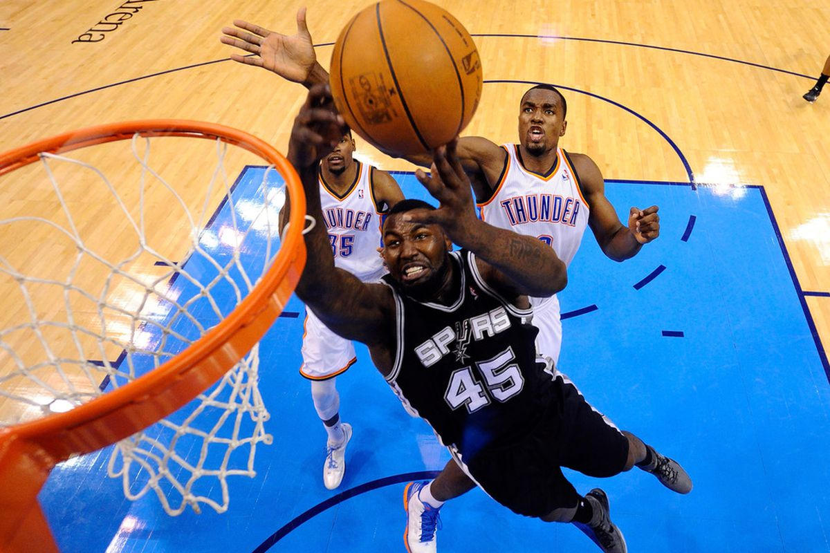 DeJuan Blair finally saw some playing time against Oklahoma City (Photo by Larry W. Smith/Pool/Getty Images)